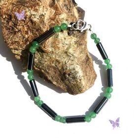 Men's Green Aventurine Hematite Tube Bracelet